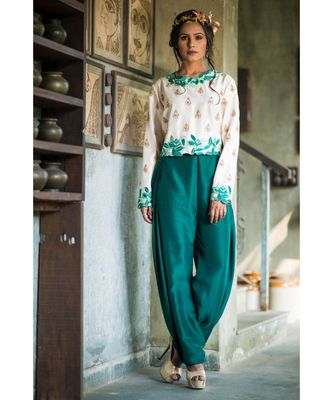 aarbee green embroidered silk top bottom set