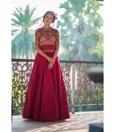 aarbee maroon embroidered silk readymade-lehenga-cholis