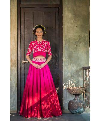 aarbee magenta embroidered dupion silk readymade-lehenga-cholis
