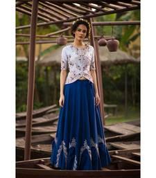 aarbee blue embroidered dupion silk readymade-lehenga-cholis