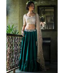 aarbee green embroidered dupion silk readymade-lehenga-cholis