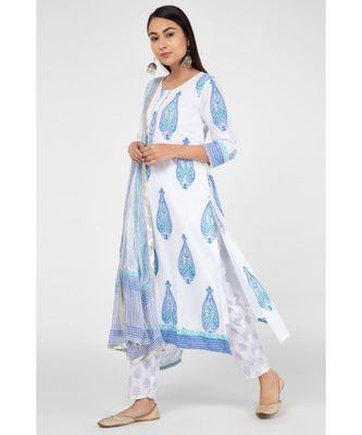 Blue Mugal Cotton Suit Set