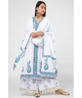 White Ferozi Cotton Suit Set