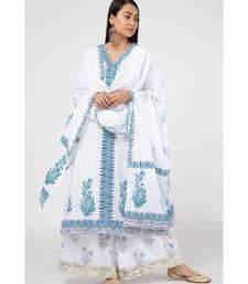 White Ferozi Cotton Suit Set
