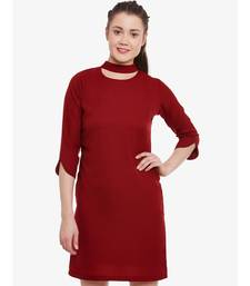 Women's Maroon Round Neck 3/4 Sleeve Solid Mini Choker Dress