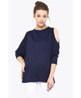 Women's blue Round Neck quarter_sleeves Solid Shoulder Cut-Out Top