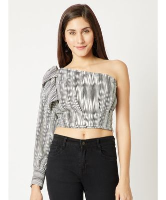 Women's Black And White One Shoulder full_sleeve Striped Bow Detailing Crop Top