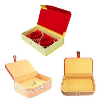 atorakushon® Velvet Jewellery Box Necklace Ring Box Earring Folder Travelling Organizer Pack of 3 (Brown)