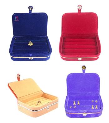 atorakushon® Velvet Jewellery Box Necklace Ring Box Earring Folder Travelling Organizer Pack of 4 (multicolor)