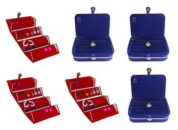 atorakushon® Velvet Jewellery Box Necklace Ring Box Earring Folder Travelling Organizer Pack of 6 (multicolor)