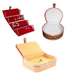 atorakushon® Velvet Jewellery Box Necklace Ring Box Earring Folder Travelling Organizer Pack of 3 (multicolor)
