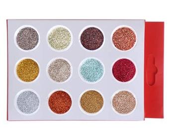 DesiButik Nail Art Glitter Powder set of 12 Multicolor
