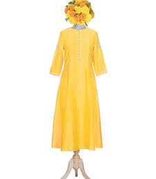 yellow embroidered Chanderi kurtis