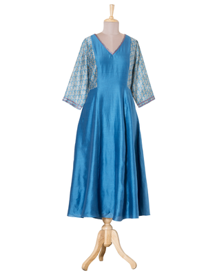 blue printed Chanderi kurtis