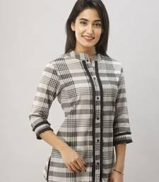 Women's Grey & Black Cotton Geomatric Printed Shirt
