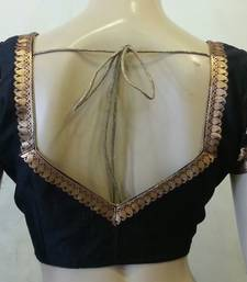 Buy Black dupion Silk Blouse with border  on sleeves and back readymade-blouse online