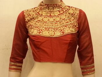 Maroon dupion silk highneck zari embroidered blouse