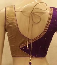 Purple Rawsilk and golden handwork blouse