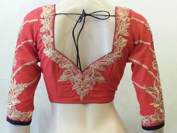 Red and Black Chanderi Silk Blouse Zari embroidery on back and sleeves
