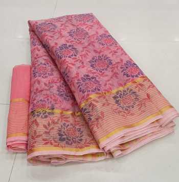 Peach printed cotton silk saree with blouse