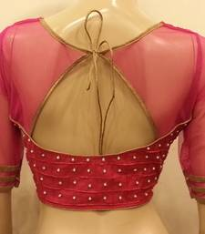 Vivacious pink net and chanderi silk front and back handworked Blouse