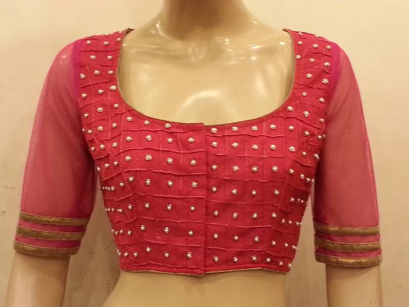 Vivacious pink net and chanderi silk front and back handworked Blouse ... daa925c86