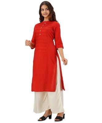 Red Plain Cotton Straight Kurti with Palazzo