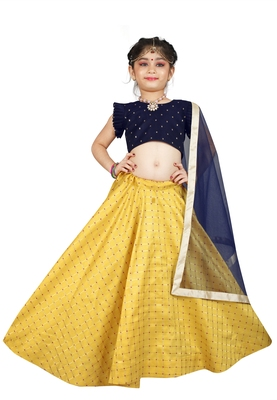 Kids Blue Blouse And Yellow Lehenga Choli