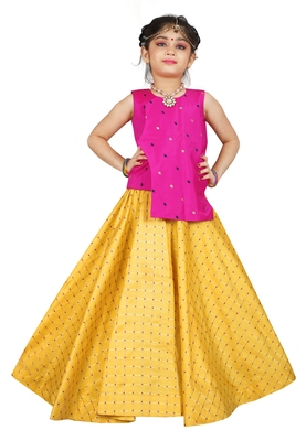 Kids Pink Top And Yellow Lehenga Choli