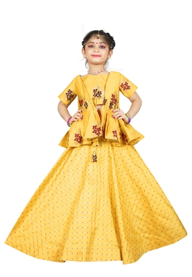 Kids Cotton Silk Yellow Wedding Wear Lehenga Choli