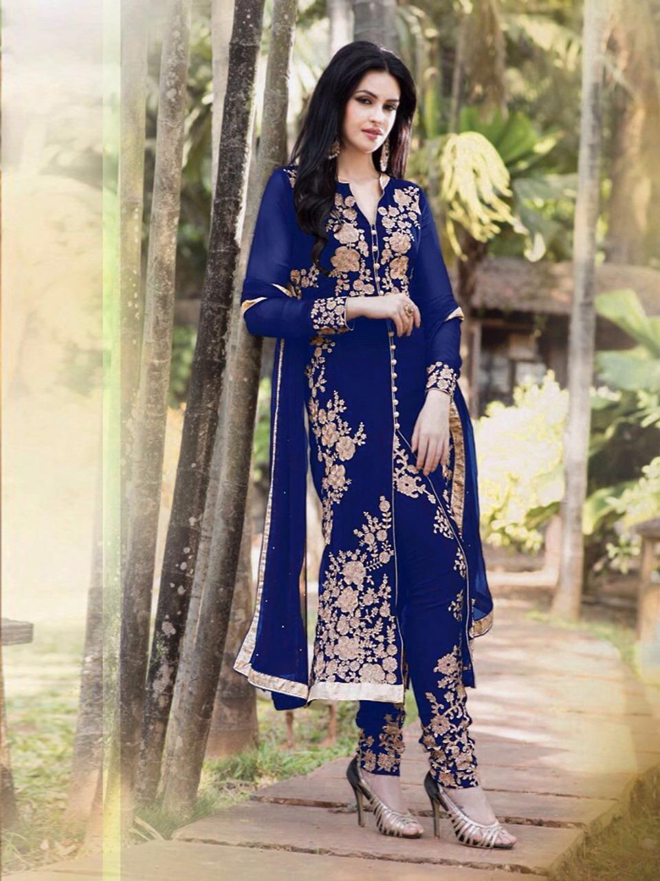 146b32c81ada Navy Blue embroidered georgette semi stitched salwar with dupatta -  FashionFunda - 455888