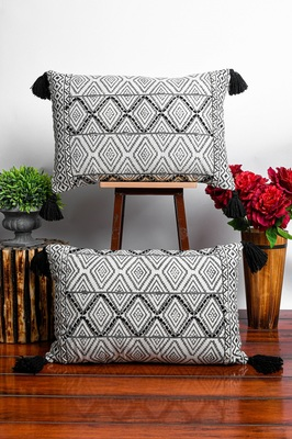 White Cotton hand block Printed Cushion Covers