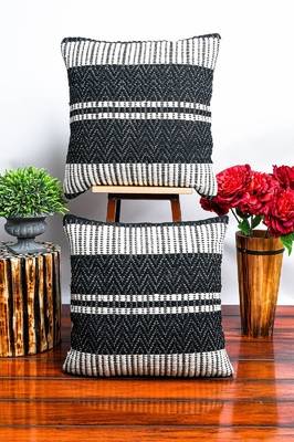 Black Soft Jute Woven Cushion Cover