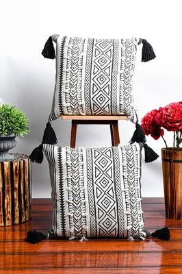 White Hand Block Printed Cushion Covers
