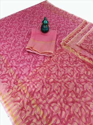 Pink woven net saree with blouse