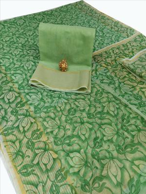 Green woven net saree with blouse
