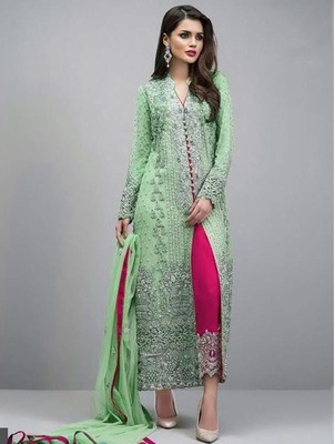 Swara Enterprise Light Green Faux Georgette Embroidered Semi Stitched Salwar Suit