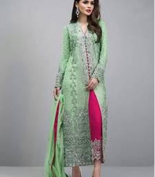 Swara Enterprise Light Green Faux Georgette Embroidered Semi Stitched Salwar Suit