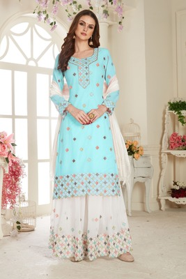 Sky Embroidered Foux Georgette Semi Stitched Sharara