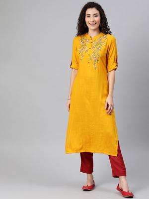 Mustard embroidered rayon ethnic-kurtis