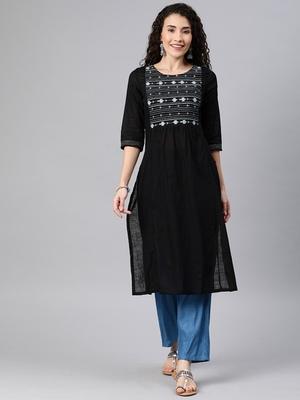 Black embroidered cotton ethnic-kurtis