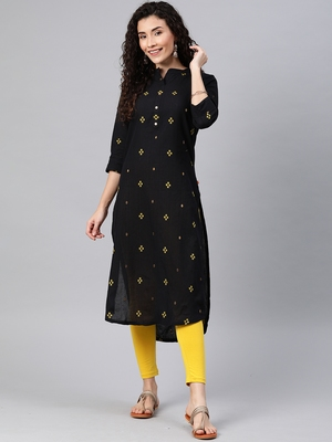 Black woven cotton ethnic-kurtis