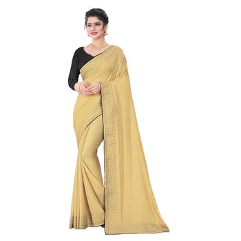 Chiku plain art silk saree with blouse