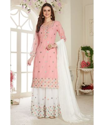 Pink Embroidered Foux Georgette Semi Stitched Sharara