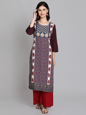 Multicolor crepe digital printed kurti