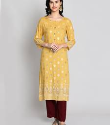 Mustard rayon printed kurti