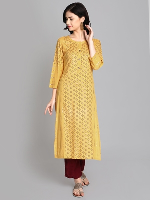 Yellow rayon printed kurti