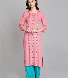 Pink rayon printed kurti