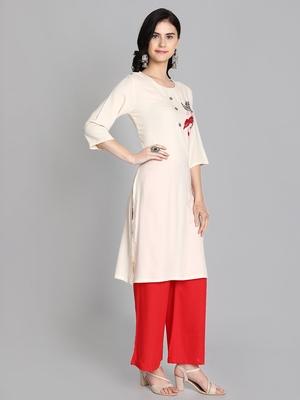 Cream rayon embroidered kurti with plazzo
