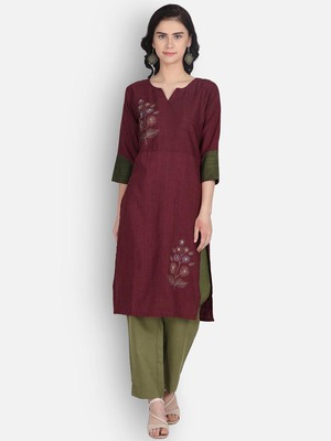 Maroon rayon embroidered kurti with plazzo